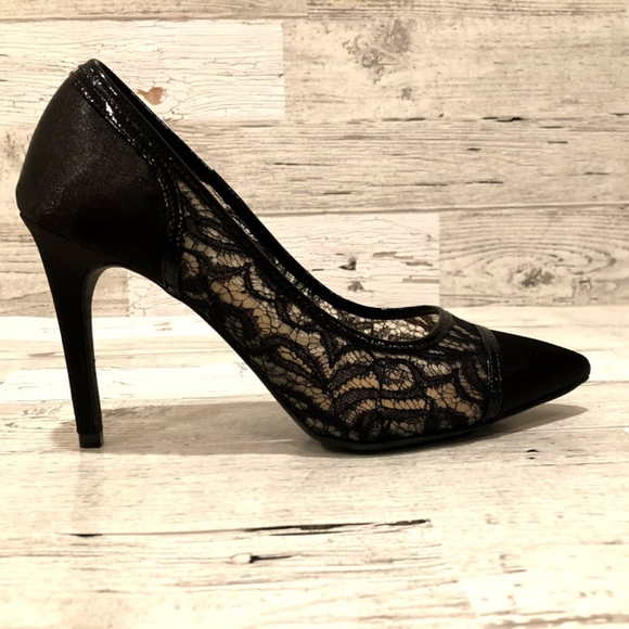23black Lace Fabric Stiletto High Heel
